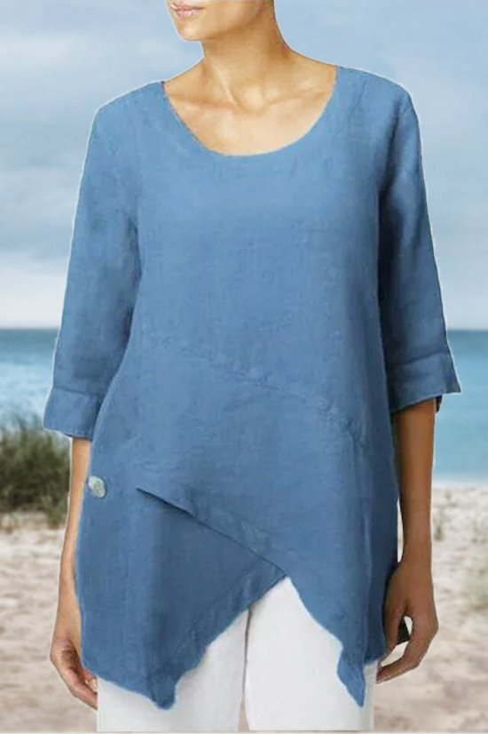 3/4 Sleeve Asymmetric Crew Neck Solid Blouse