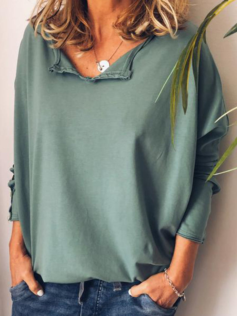 Casual Cotton V Neck Long Sleeve T-Shirt