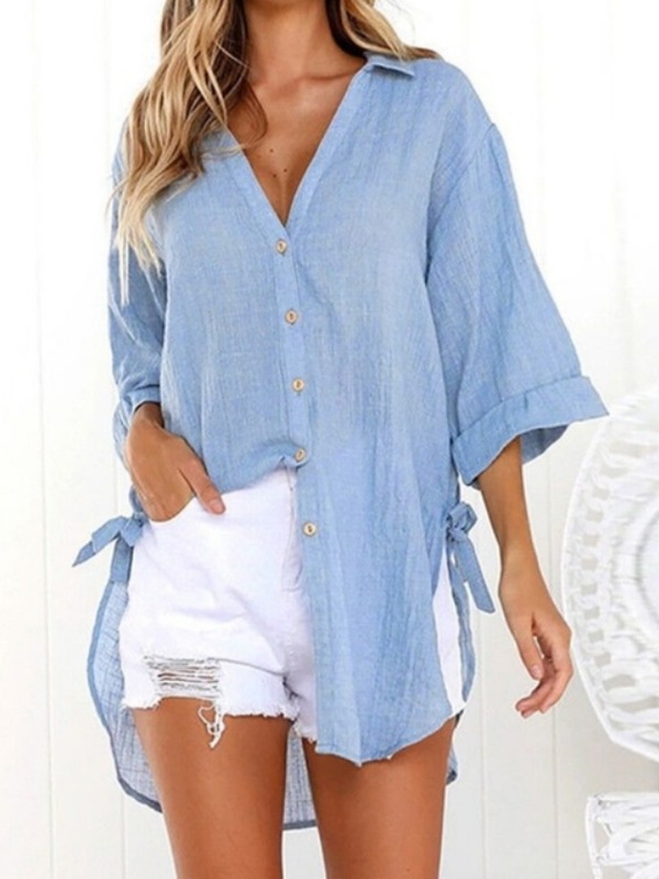 Linen Solid Lace-up Sweet Buttoned Casual Blouse