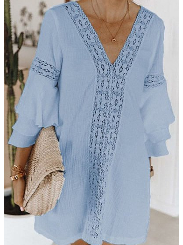 3/4 Sleeve Casual Patchwork Dresses