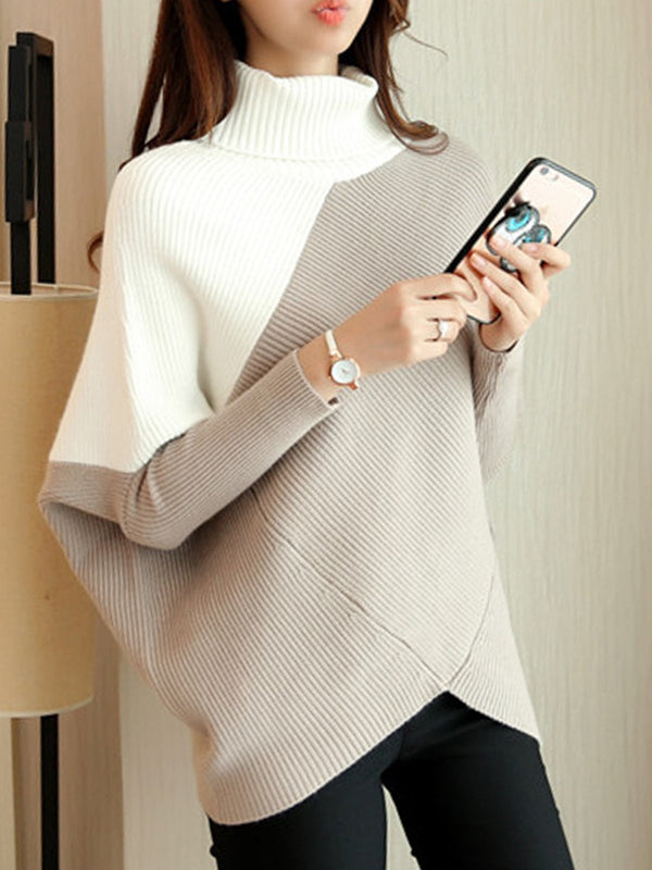 Turtle Neck Knitted Casual Asymmetrical Sweater