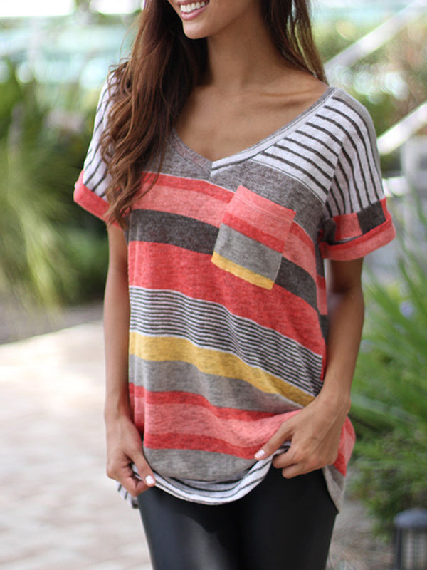 Cotton-Blend Short Sleeve V Neck Casual T-Shirt