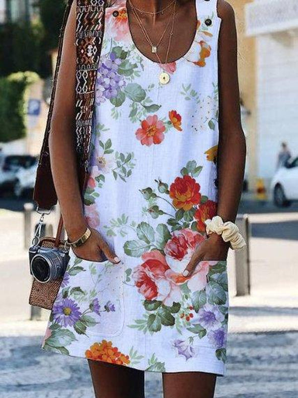 Crew Neck Casual Floral-Print Sleeveless Dress