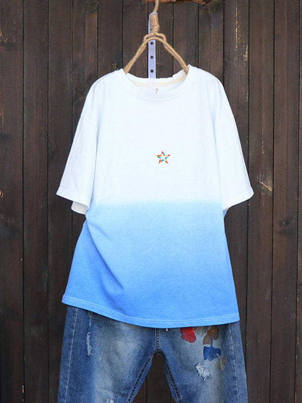 Ombre Patchwork Star Short Sleeve Casual T-Shirt