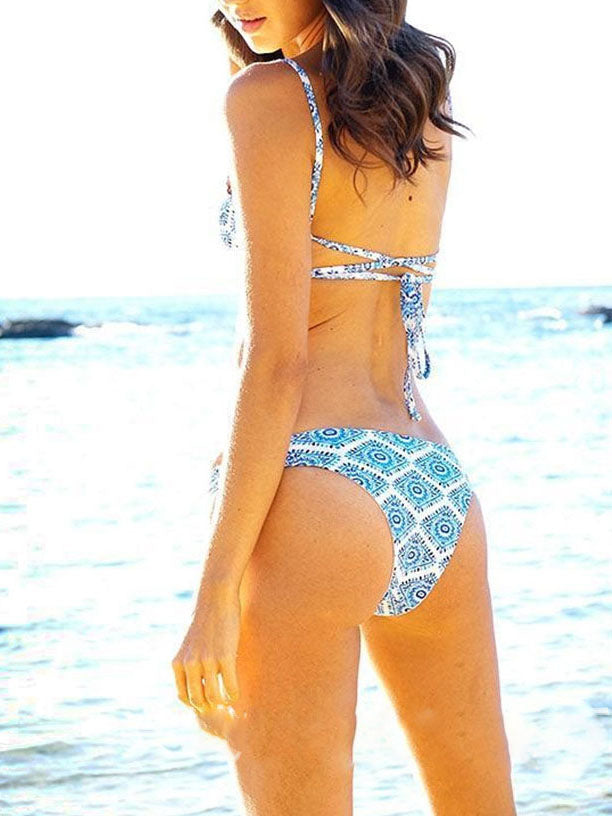 Blue Color-Block Straped Sexy Swimwear