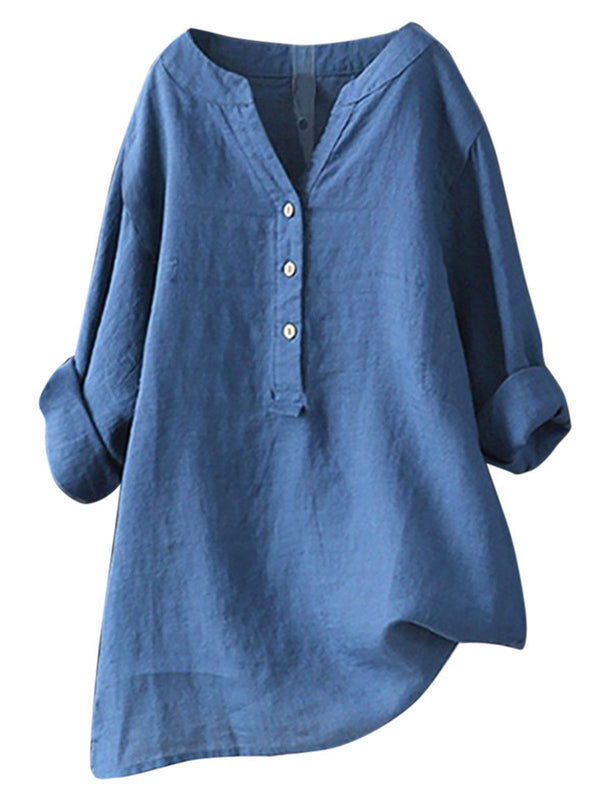 V Neck Cotton Casual Shirts & Tops