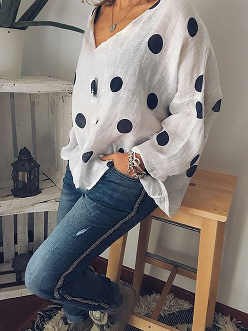 Cotton Polka Dots Printed Casual T-Shirt