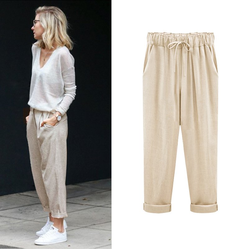 Plus Size Solid Casual Women Pants