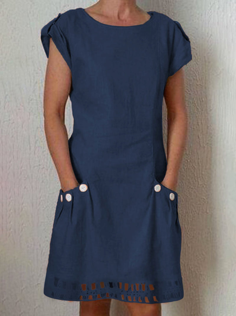 Casual Pockets Short Sleeve Solid Dress