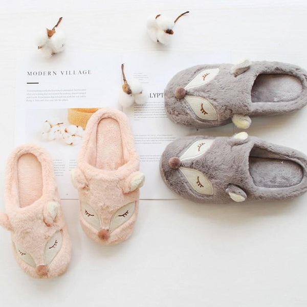 Suede Animal Print Foxes Couple Slippers
