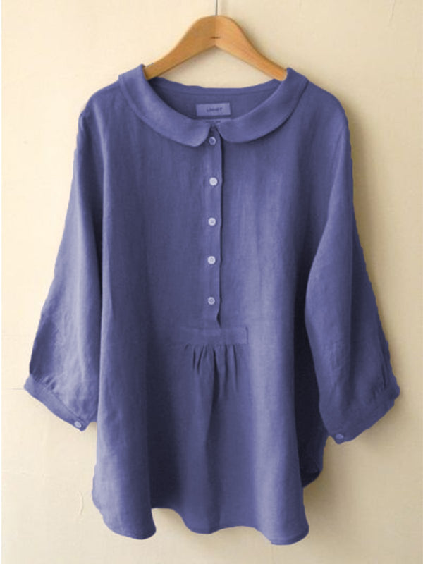 Solid Sweet Linen Long Sleeve Blouse