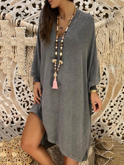 V Neck Asymmetrical Long Sleeve Dress