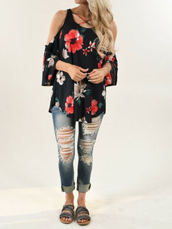 Summer Floral Bateau/boat Neck 3/4 Sleeve Cotton-Blend Shirts & Tops