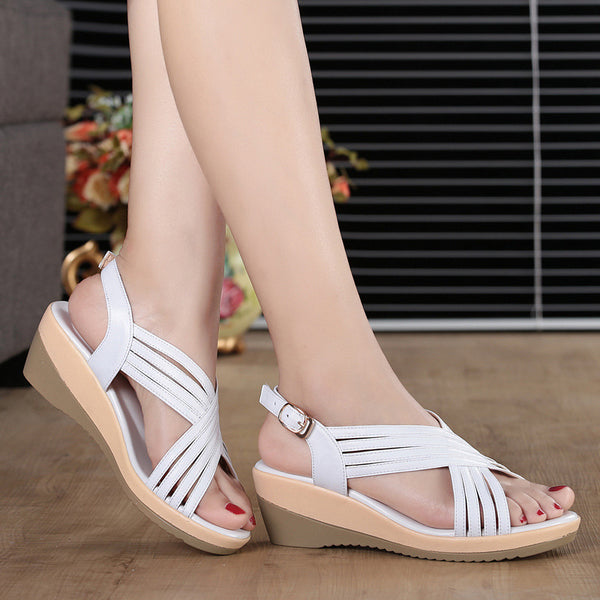Buckle Pu Wedge Heel Daily Sandals