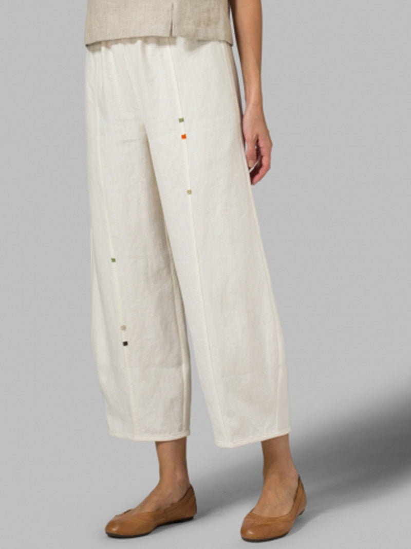 LINEN EMBROIDERED CROP PANTS