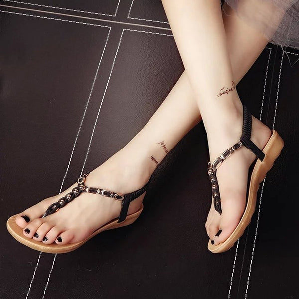 Summer Elegant Beach Flat Heel Button Sandals