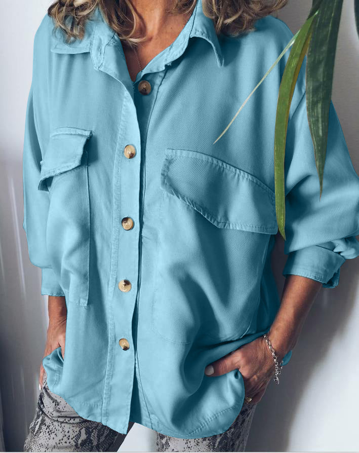 Casual Pockets Cotton-Blend Solid Blouse
