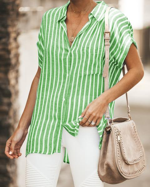 Striped Relaxed Fit Button Down Blouse