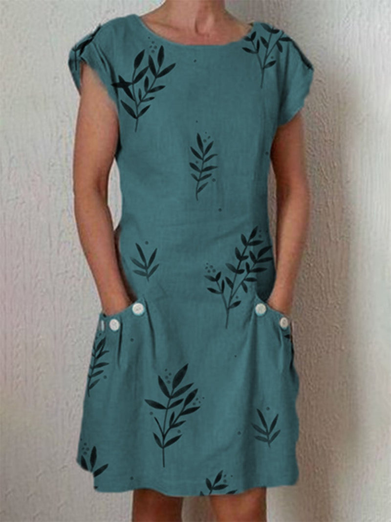 Leaf Printed Casual Pockets Dress