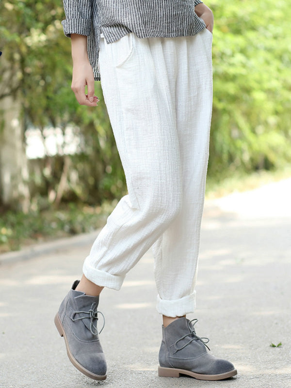 Casual cotton and linen pocket nine points pants