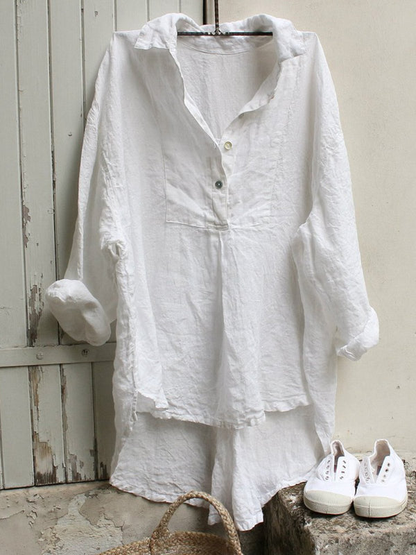 Women Tuxedo Linen Shirt Dress