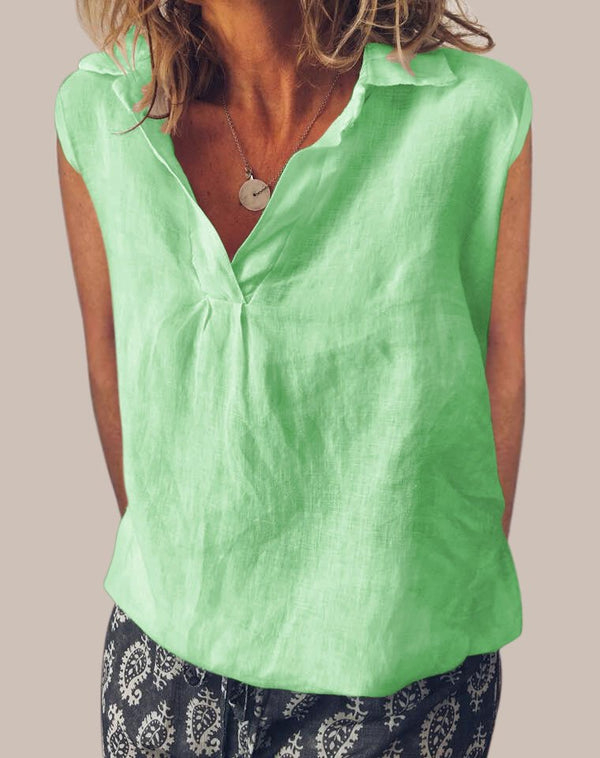 Sweet Cotton V Neck Sleeveless Blouse