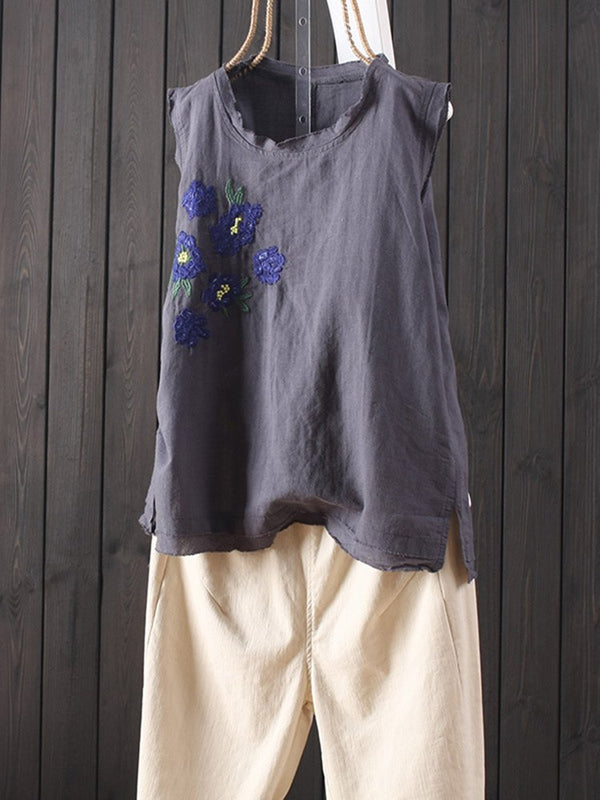 Vintage Embroideried Floral Crew Neck Tank Top