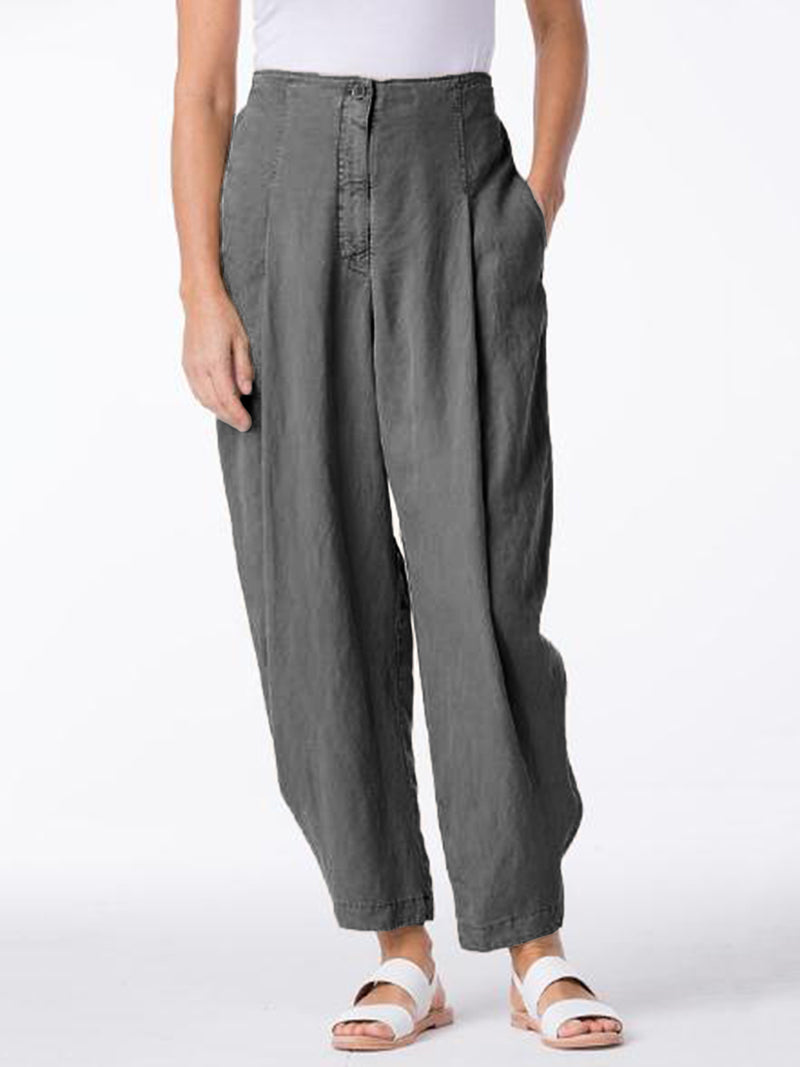 Cotton-Blend Solid Pleated Pants