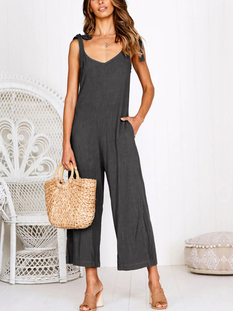 Cotton Solid Casual Zipper Jumpsuits