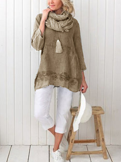 Long Sleeve Linen Crew Neck Solid Shirts & Tops