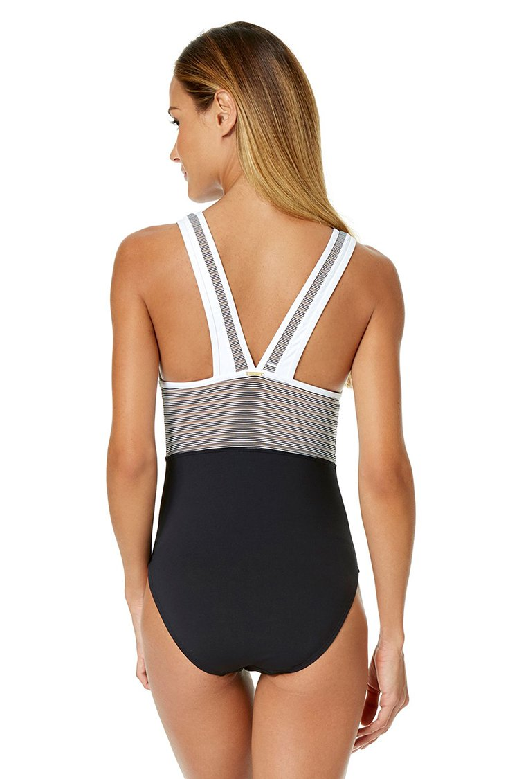 Striped Color Block Backless One-piece Swimsuit