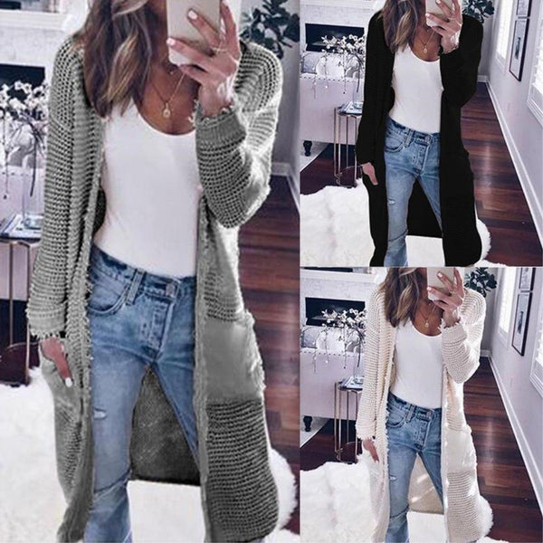 Casual Knitted Long Sleeve Plain Pocket Cardigans