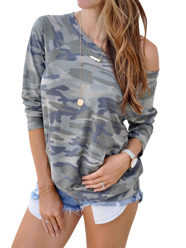 Camouflage Half Sleeve A-Line Color-Block One Shoulder Shirts & Tops