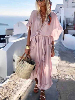 Pink V Neck Solid Casual Dress