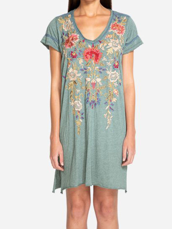 Casual Floral Short Sleeve V Neck Dresses