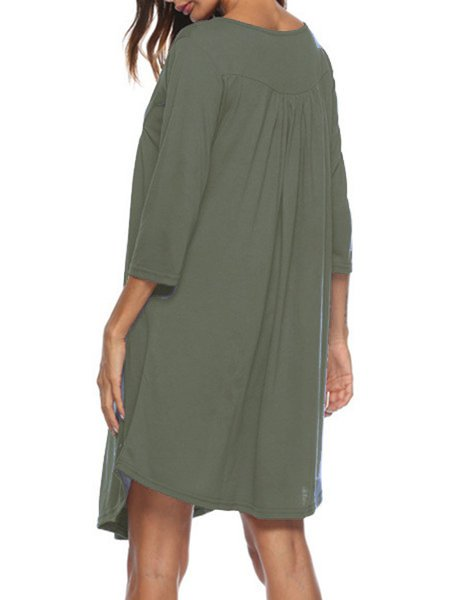 Button Up 3/4 Sleeve Loose Casual Dress
