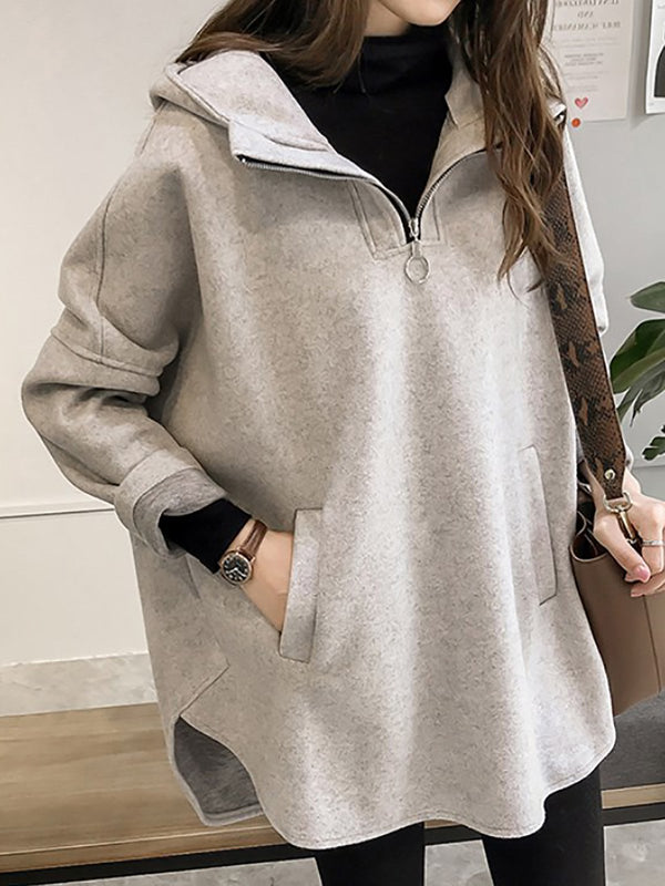 Hoodie Shift Slit Pockets Zipper Solid Top