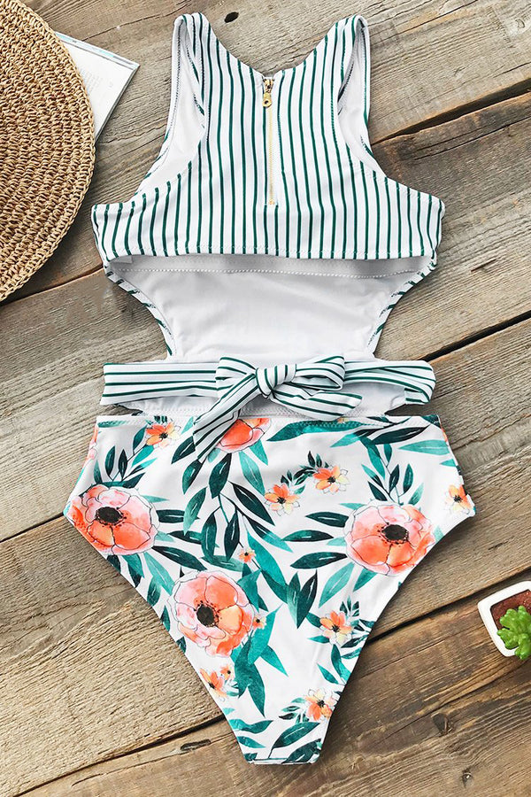 Striped Printed Backless One-piece Swimsuit