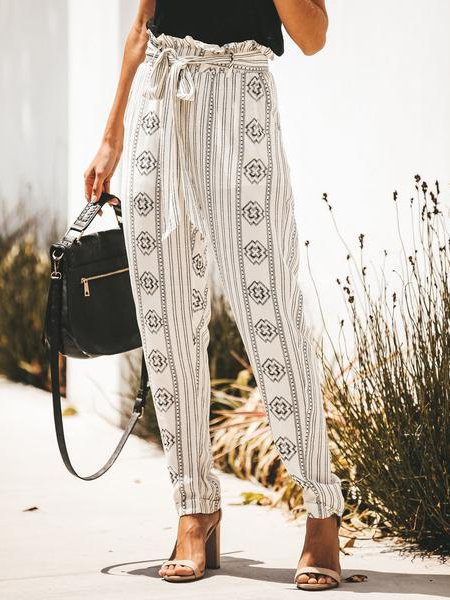 Summer Stripes Casual Pockets Pants
