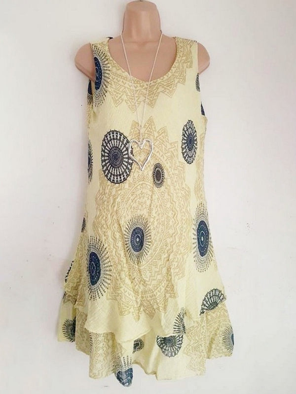 2020 Summer Swing Sleeveless Printed Cotton Printed Dresses