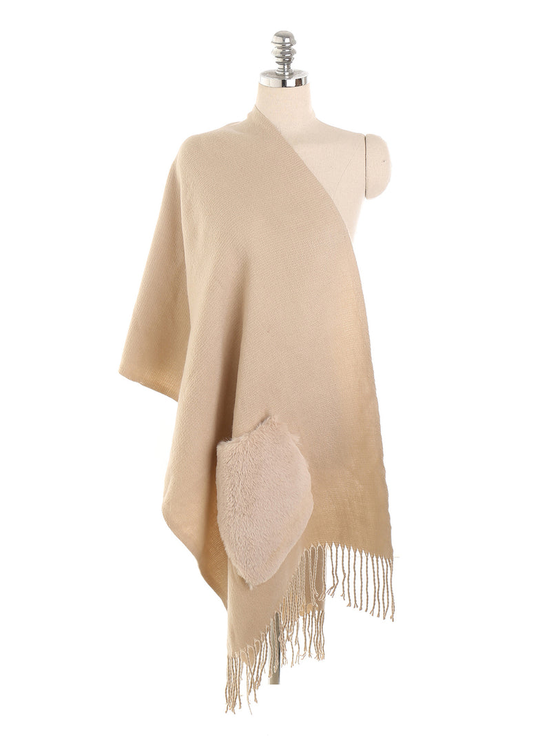 Solid Color Tassels Cashmere Functional Scarf Shawl With Pockets