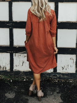Burgundy Cotton-Blend 3/4 Sleeve Dress