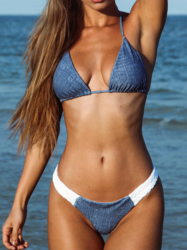 Summer Blue Color-Block Plain Swimwear