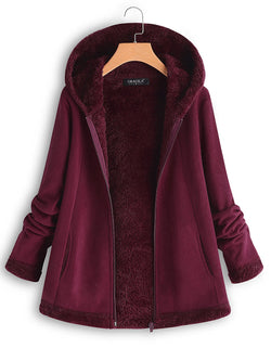 Mohair Casual Fleece Hooded Zipper Pocket Long Sleeve Coat