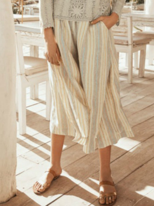 Striped cotton and linen cropped trousers