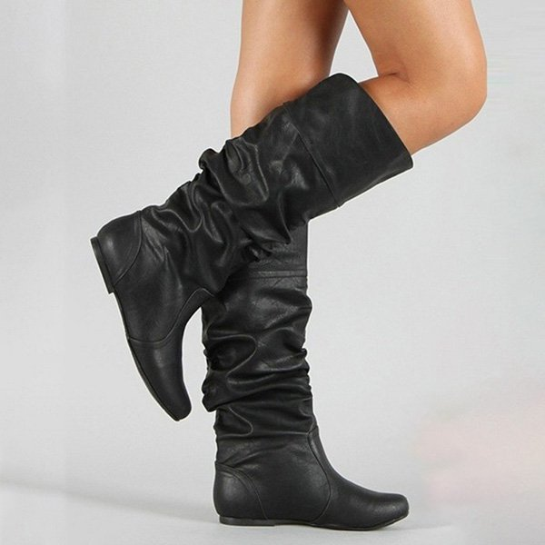 Flat Heel PU Winter High Boots