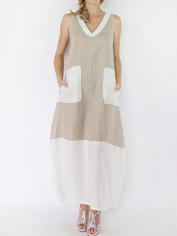 V Neck Casual Sleeveless Linen Dress