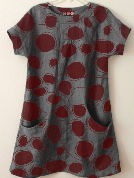 Women Polka Dots Casual Short Sleeve Shift T-Shirts