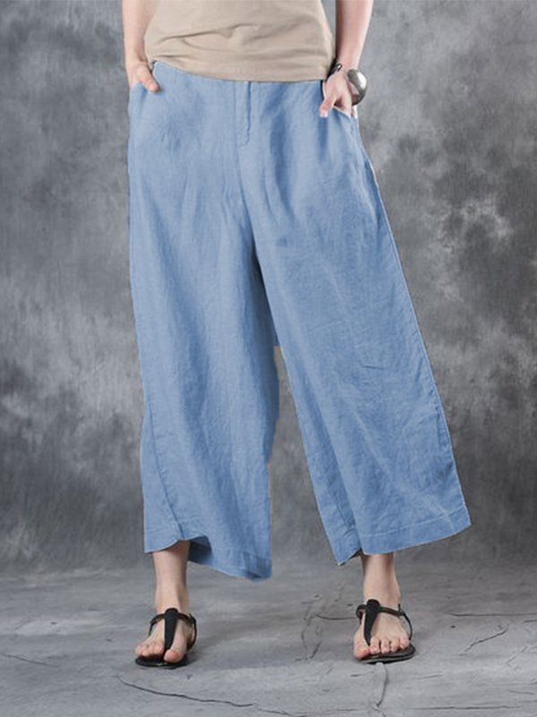 Casual Plus Size Solid Pants With Pockets