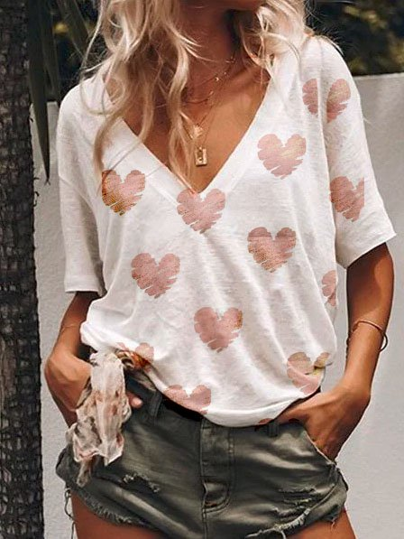 Women Summer Casula Loose V neck Polka Dots T Shirt
